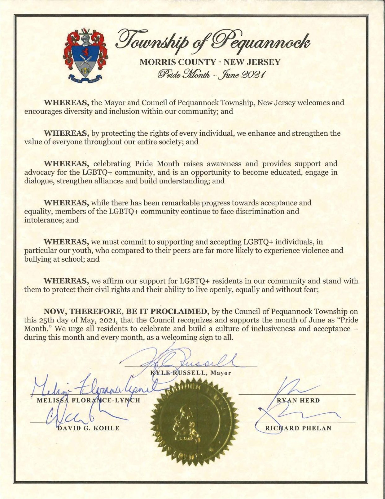 scanned copy of Pequannock's Pride Month Proclamation