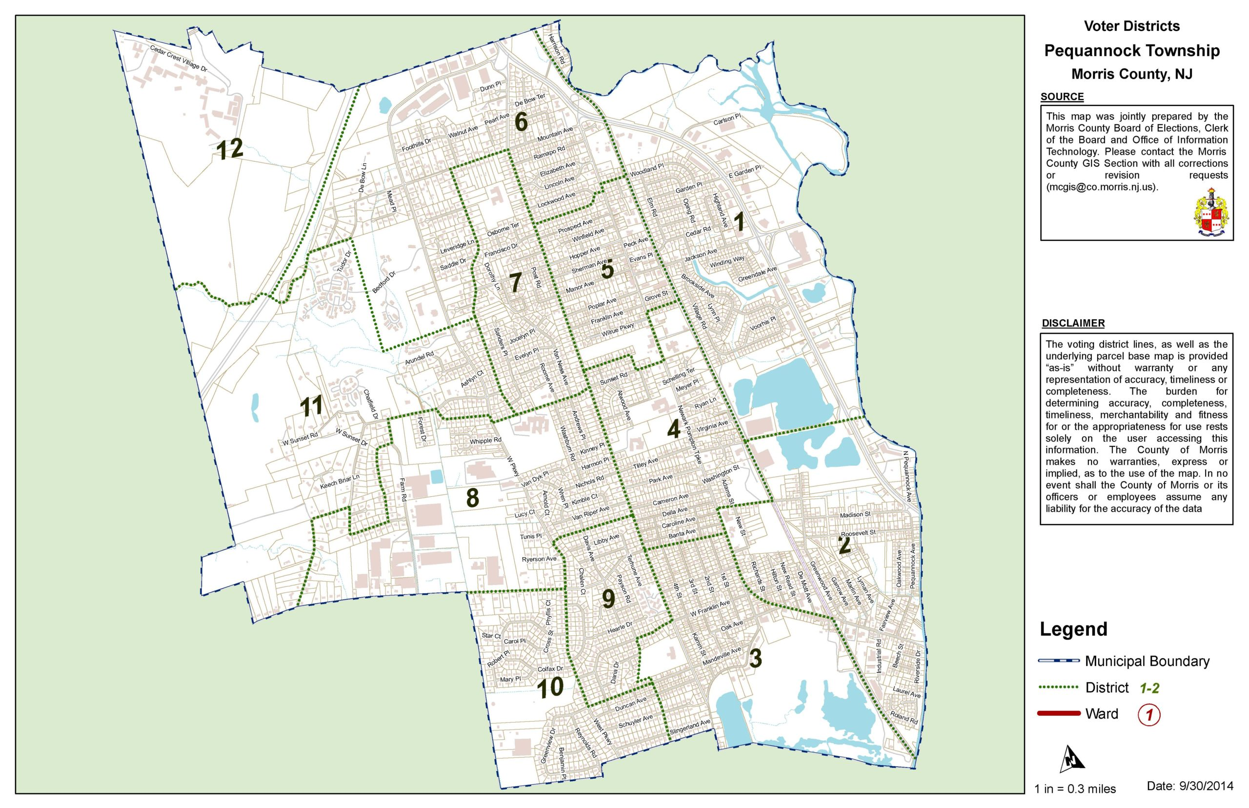 Map of voting districts in Pequannock